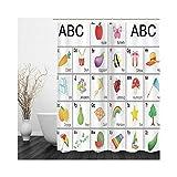 Aeici Duschvorhang Antischimmel mit Ringe Duschvorhang Lang,Fruchtinsekt ABC Duschvorhänge 180x200 cm Bad Vorhang für Badzimmer Mehrfarbig