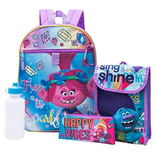 Trolls Girls 5 Piece Backpack School Set