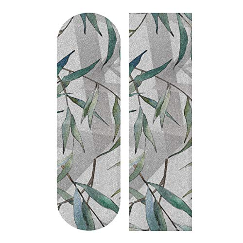 JEOLVP 33,1 x 9,1 Zoll Sport Outdoor Skateboard Aufkleber Green Willow Soft Long Branches Print Wasserdichtes Longboard Griptape für Tanzbrett Double Rocker Board Deck 1 Blatt