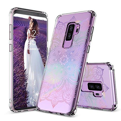 Galaxy S9 Plus Case, Galaxy S9 Plus Clear Case, MOSNOVO Gradient Rainbow Henna Mandala Clear Design Transparent Plastic Case with TPU Bumper Case Cover for Samsung Galaxy S9 Plus