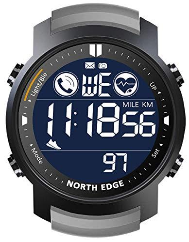 XWZ Smart Watch Reloj Inteligente Hombres Monitor de Ritmo cardíaco Impermeable 50m Natación Running Sports Pedómetro Stropewatch SmartWatch Android iOS,Gris