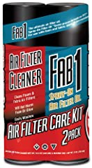 2 Pack Contains: Maxima Air Filter Cleaner 15.5 ounce and Fab1 Spray-on Air Filter Oil 13 ounce Maxima Air Filter Cleaner is a heavy-duty emulsion-type cleaner designed to thoroughly clean both foam and fabric air filters without damaging foam cells,...