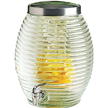Circleware Beehive Huge 3.5 Gallon Glass Beverage Drink Dispenser with Fruit Infuser, Spigot and Metal Lid, Torino Collection, Limited Edition Glassware Drinkware