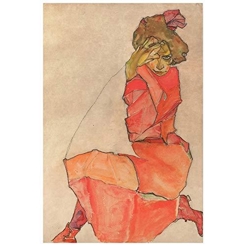 Legendarte Egon Schiele Kniende in orange-rotem Kleid Kunstdruck auf Leinwand, cm.60x90