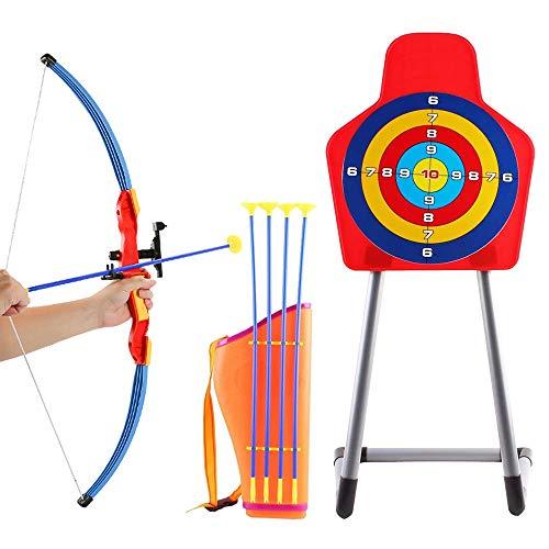 deAO Kinder Bogenschießset mit Bogen, Saugpfeilen, Köcher und Zielscheibe – tolles Outdoor Spielset
