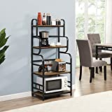 """O&K Furniture Industrial Kitchen Baker's Rack , Microwave Stand with 4 Shelves, Detachable Kitchen Spice Rack---Rustic Brown Finish, 23.6""""W x 15.7""""D x 54""""H"""