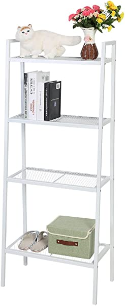 Estink 4 Tier Storage Shelf Multi Use Ladder Shelf Unit Display Shelves Storage Shelving Leaning Ladder Wall Stand For Any Rooms Indoor White 23 6 X 13 8 X 57 1