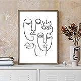 Famoso pintor Picasso's Abstract Line Pintura facial Impresión en blanco y negro Decoración del hogar Lienzo moderno Póster de pintura 50x75cm marco interior
