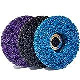 Beada 3 PCS 115Mm Negro/Azul/PúRpura Discos para Amoladoras Angulares Limpiar y Quitar Pintura, Revestimiento, óXido y OxidacióN para Trabajos de Fibra de Vidrio de Madera y Metal