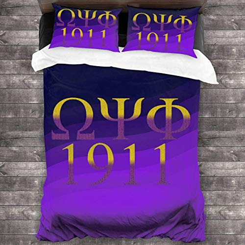N \ A Omega Psi Phi 3 Piece Ultra-Soft Bedding Set Quilt Cover Pillowcase Wrinkle Fade Resistant Bedsprea-(86'' x70)