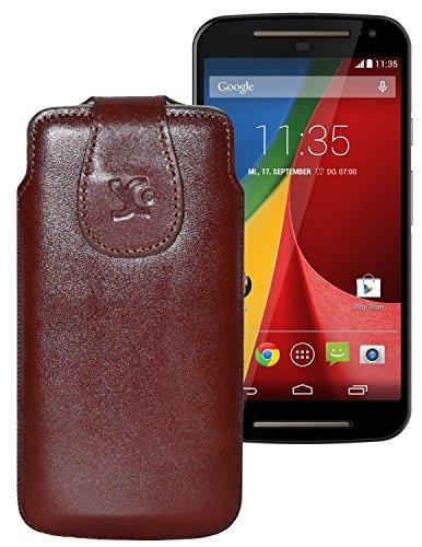 Suncase Tasche für / Motorola Moto G 4G LTE (2. Gen.) / Leder Etui Handytasche Ledertasche Schutzhülle Hülle Hülle / in braun