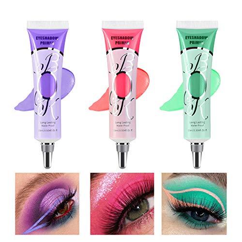 【3 Pack】Erinde Eyeshadow Makeup Primer Liquid Eyeshadow Primer Waterproof & Smudgeproof & Long Lasting Matte Eyeshadow Primer Makeup for Prevent Oily Lids and Crease Eye Primer Base for Makeup(Set B)