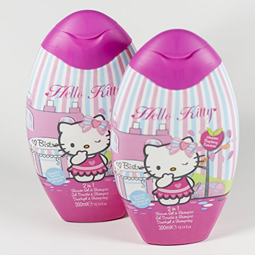 2 x Hello Kitty Duschgel,2 in 1,Schampoo,Himbeere