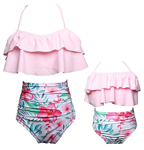 KABETY Girls Swimsuit Two Pieces Bikini Set Ruffle Falbala Swimwear Bathing Suits (Pink, 5-6 Years)