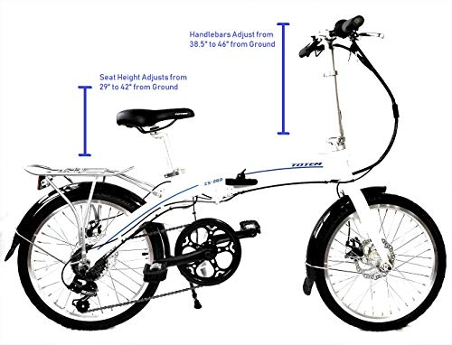Totem Electric Bicycle 250W Commuter Series 20' Folding Bike w/Removable 36V Battery, 5 Level Pedal Assist and Pedal-Free Mode, USB Charging Port, Lightweight 44 lbs, Ships Fully Assembled - White