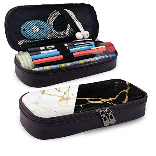 Luxury Gold Marble Abstract Black & with Zipperhite Portable Leather Pencil Case Pencil Bag Pouch with Zipper