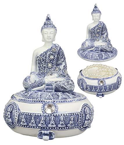 Ebros Gift Bhumisparsha Mudra Buddha Amitabha Meditating Terracotta Blue And White Round Jewelry Box Figurine 5.25'Diameter Buddhist Eastern Enlightenment Trinket Box Accessory Feng Shui Decor
