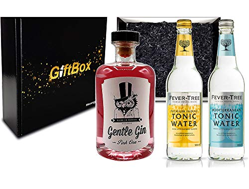 Gin Tonic Geschenkset - Gentle Gin Pink One 0,5l (40% Vol) + 1x Fever-Tree Indian Tonic + 1x Fever-Tree Mediterranean Tonic a 500ml inkl. Pfand MEHRWEG [Enthält Sulfite]