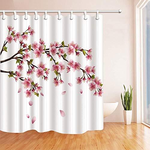 votgl Schöne rosa Pfirsichblüte Sakura auf Zweig im Frühjahr Dekoration Hintergr&muster Badezimmer Duschvorhang 3D-Druck wasserdichte Beschichtung Polyester Stoff 71x71 Zoll einschließlich 12 Haken