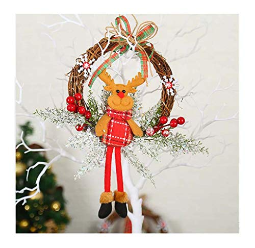 FZ FUTURE Merry Christmas Wreaths for Front Door, Small Grapevine Wreath Indoor Winter Holiday Wreaths Front Door Christmas Decoration, Home Door Hanger Wall Car Decoration,Reindeer,S