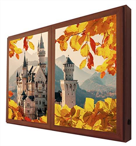 Achtergrondverlichting afbeelding herfst slot nieuwe staart Bayern raam valse afbeeldingen met LED-licht, methacrylaat, walnoot, 60 x 80