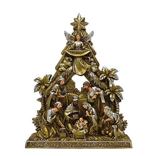 Needzo Holy Family Scene Metallic-Toned Figurine, Nativity Sets for Christmas Indoor, 10 1/2 Inch