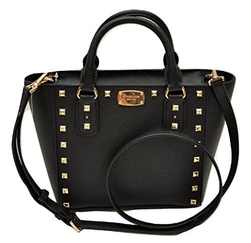 Michael Kors Sandrine Stud Small Crossbody Saffiano Leather Bag Handbag (Black)