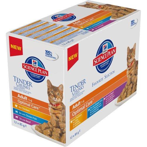 Hill Science Plan Feline Adult Katzenfutter Biscuit Fragile Magen-Huhn mit Ei / Reis (12 X 85g)