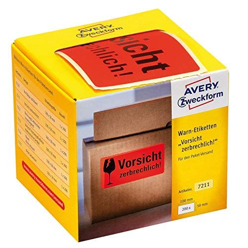 AVERY Zweckform Warnetiketten 7211 Vorsicht zerbrechlich (200 Etiketten auf Rolle im Kartonspender, 100 x 50 mm, selbstklebend, Warnhinweis Vorsicht Zerbrechlich für Versand, Umzug) neon rot