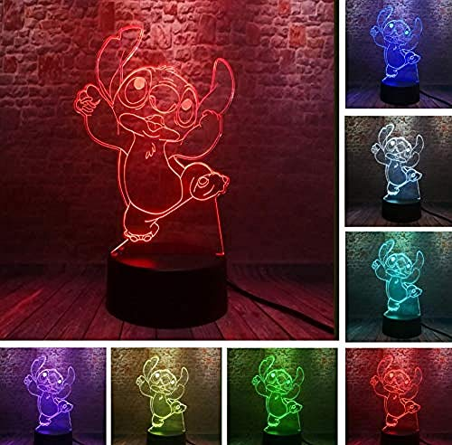 Stitch 3D Led Night Light Energy Saving Light Touch 7 Bedroom Decoration for Kids Decoration Optical Illusion Lamp Gift for Kids/Birthday/Christmas