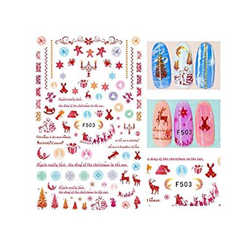 Weihnachten Nail Sticker Puzzle Damen Nagelstudio Set Elegant Nail Art Farben Nagelsticker FingernäGel Nailart ManiküRe Glitter Chunky Nagel Make-Up Festival Party Dekoration
