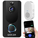 GeeKam Wireless Video Doorbell Camera with Indoor Chime & Free Cloud Storage, 1080P Video, Two-Way Talk, IP65 Weatherproof, Motion Detection, 2.4G WiFi Connection, Night Vision, for Home Security