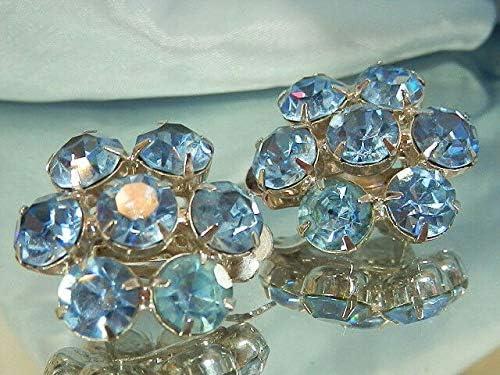WOWZA Sparkle Ice Blue Rhinestone Flower Clip On Earrings Vintage 1950's