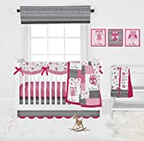 Bacati Owls in The Woods/Jungle Pink/Grey Girls 10-Piece Nursery in a Bag Baby Girl Nursery Crib Bedding Set with Long Crib Rail Guard for US Standard Crib 100 Percent Cotton