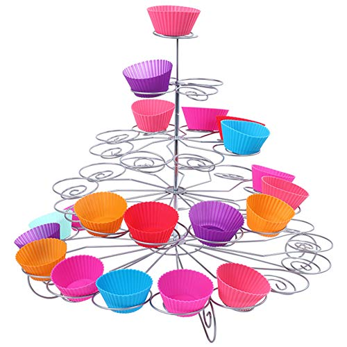 Resulzon 4 Tiers 23 Cupcakes Mini Cute Sturdy Reusable Dessert Tower Tree Cupcake Display Stand Holders For Wedding Baby Shower Parties