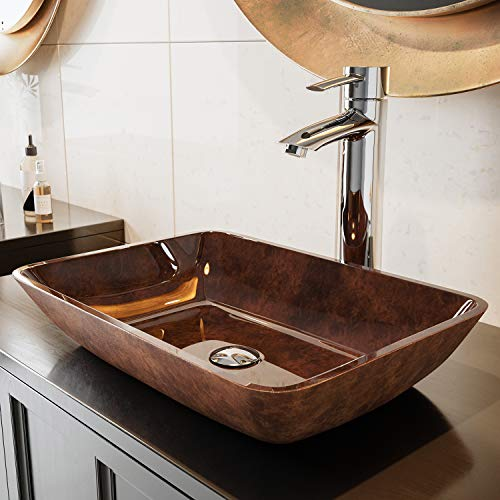 VIGO VG07089 Glass Above counter Rectangular Bathroom Sink, 17.875 x 13 x 4 inches, Russet