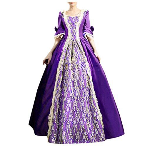Women Renaissance Irish Medieval Dress Plus Size Long Lace Up Vintage Gothic Cosplay Dresses Costumes Retro Gown Purple