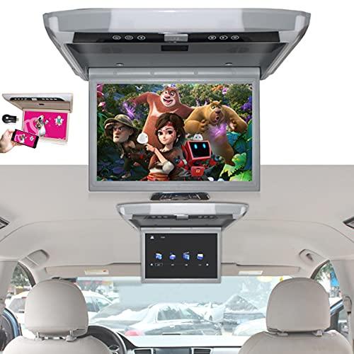 FANGX Monitor de Techo Coche HD TFT LCD de 12'- Rotación de Pantalla de 120 °, Reproductores de Video 1080p Video Car TV Mp5 HDMI HM IR USB SD - Compatible con Control Remoto,Grey