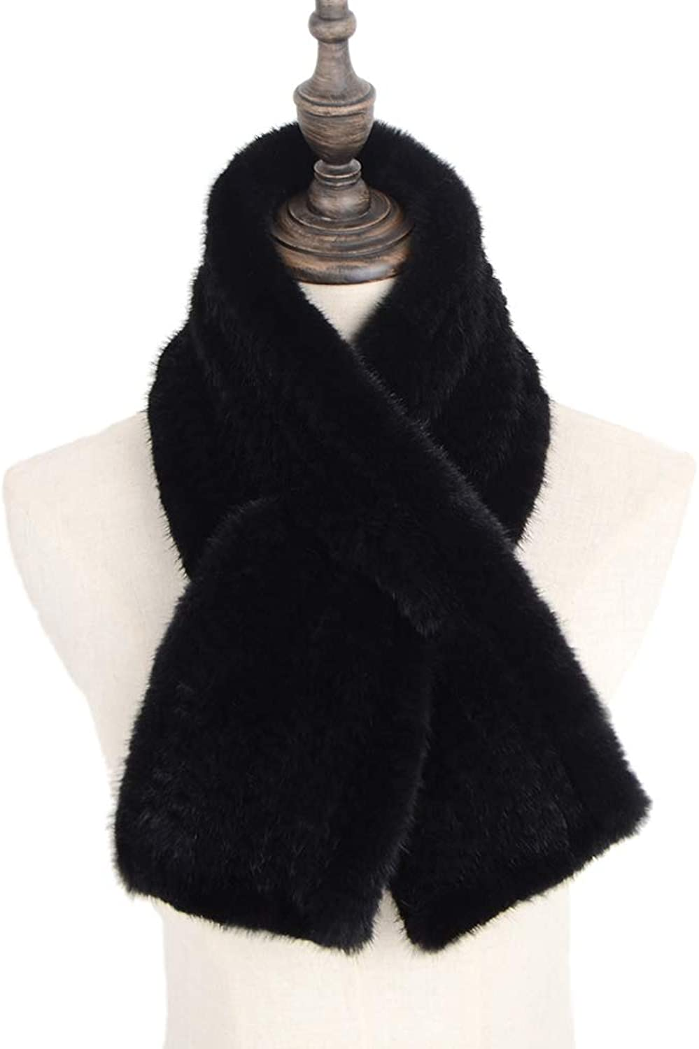 Qmfur Winter Warm Knit Real Mink Fur Knitted Scarf Wrap Neck
