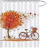 JOOCAR Design Duschvorhang, Herbstmapie Blatt Baum & Fahrrad Herbst Orange, wasserdichter Stoff Stoff Stoff Badezimmer Dekor Set mit Haken