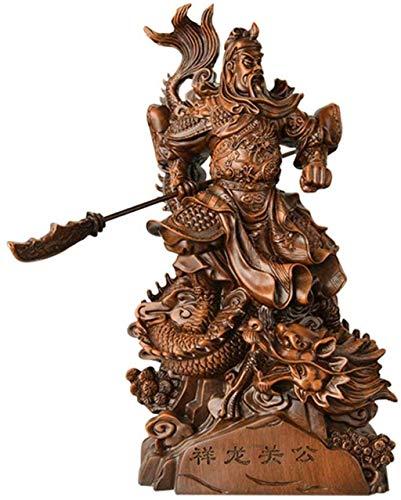 zvcv Guan Yu Statue God Of Wealth Buddha Statue, Resin Crafts Guan Yunchang Statue Feng Shui Ornaments,Brown