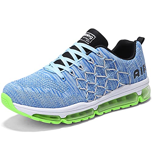 Zapatillas de Deporte Hombre Mujer Running Bambas Ligero Zapatos para Correr Respirable Calzado Deportivo Andar Crossfit Sneakers Gimnasio Moda Casuales Fitness Outdoor Bluegreen-43