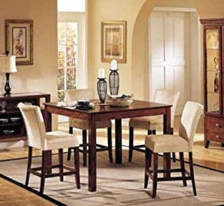 5pc Counter Height Dining Table & Stools Set Dark Brown Finish
