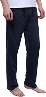 Mens Pyjama Bottoms 100% Cotton, Elasticated Waist Solid Lounge Pants PJS Trousers with Pockets