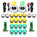 EG STARTS Arcade DIY Kit Parts USB Encoder to PC Games 8 Way Joystick + 20x 5V Full Colors LED Illuminated Push Buttons For Arcade Stick Games Mame & Raspberry Pi 2 3 3B ( Yellow + Green )
