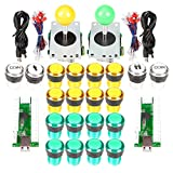 EG STARTS Arcade DIY Kit Parts USB Encoder para PC Juegos 8 Way Joystick + 20x 5V Full Colors LED Botones iluminados para juegos Arcade Stick Mame & Raspberry Pi 2 3 3B (Amarillo + Verde)