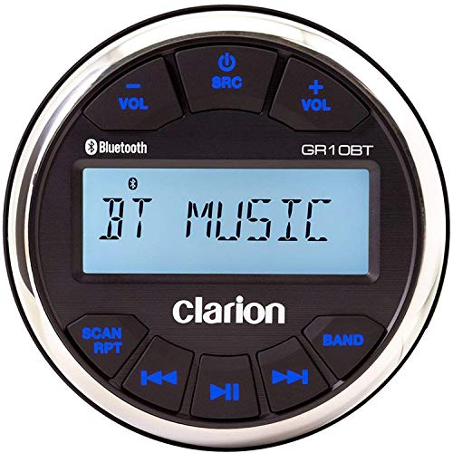 clarion marine stereos Clarion GR10BT Marine USB/MP3/WMA Gauge-Hole Digital Receiver with Built-In Bluetooth