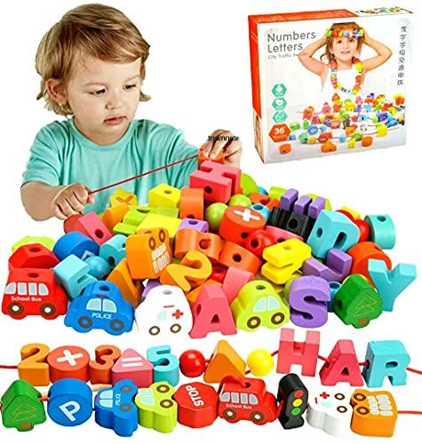 neues Perlen Fädelspiel Holzperlen zum Auffädeln Montessori Spielzeug Holzspielzeug Lernspielzeug für Kleinkinder Mädchen Jungen - Geburtstags 72pcs