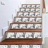 Stickers Escalier Tuile Gris Blanc Mignon Voyeur Chat Créatif Escalier Autocollants Personnalité Maison Bricolage Stickers Muraux Stickers Décoratifs