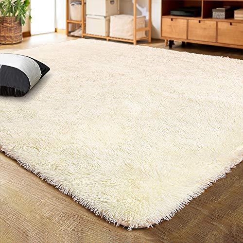 LOCHAS Ultra Soft Indoor Modern Area Rugs Fluffy Living Room Carpets for Children Bedroom Home Decor Nursery Rug, 6x9 Feet Light Champagne